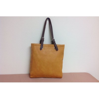 9033 - MUSTARD LEATHER SHOPPING BAG
