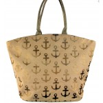 9204- BROWN MULTI ANCHOR DESIGN  CANVAS TOTE BAG
