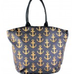 9204- GREY MULTI ANCHOR DESIGN  CANVAS TOTE BAG