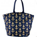 9204- NAVY MULTI ANCHOR DESIGN CANVAS TOTE BAG