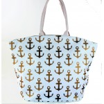 9204- WHITE MULTI ANCHOR DESIGN CANVAS TOTE BAG