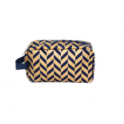 9227- NAVY & GOLD COSMETIC BAG
