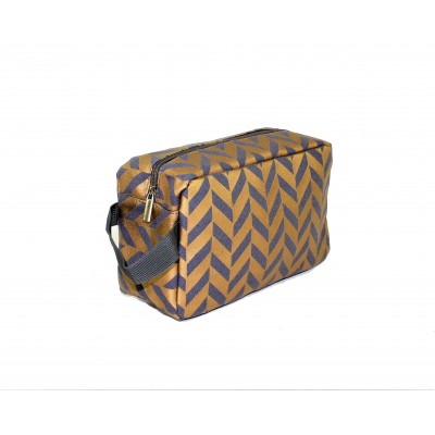 9227- GREY & GOLD COSMETIC BAG