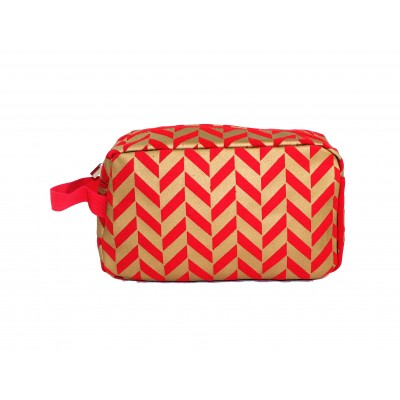 9227- RED & GOLD COSMETIC BAG