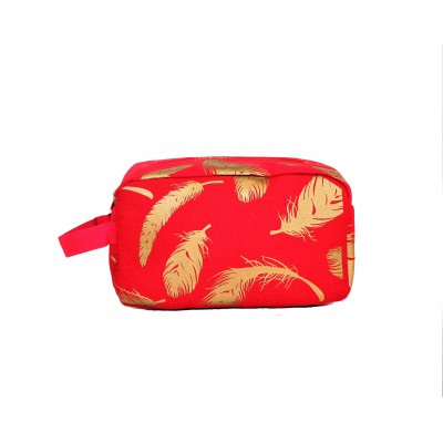 9229-RED FEATHER DESIGN COSMETIC BAG