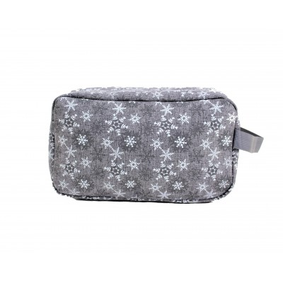 9249- GREY W/SNOW FLAKES COSMETIC BAG