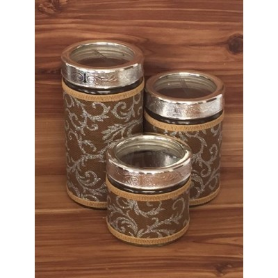 32745-BROWN- 3 PCS JAR SET W/CLEAR SILVER LID