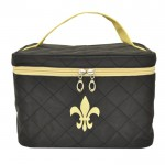 32767 - BLACK QUILTED COSMETIC BAG /W GOLD FDL