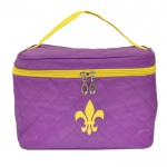 32767 - PURPLE QUILTED COSMETIC BAG /W YELLOW FDL