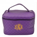 6005 - PURPLE LEATHER QUILTED COSMETIC / MAKEUP BAG