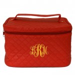 6005 - RED LEATHER QUILTED COSMETIC / MAKEUP BAG