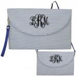 6006 - BLUE SEER SUCKER CLUTCH/CROSS BODY/SHOULDER BAG