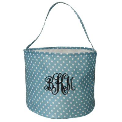 6007 - AQUA/WHITE POLKA DOTS ROUND FABRIC BASKET