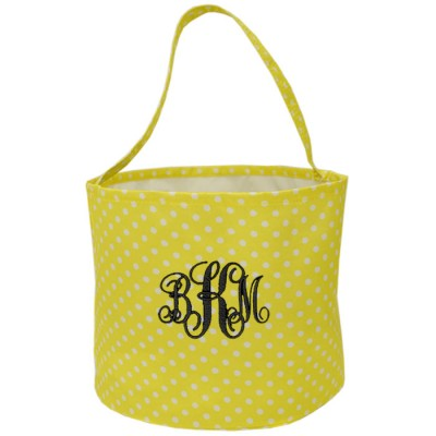 6007 - YELLOW/WHITE POLKA DOTS ROUND FABRIC BASKET