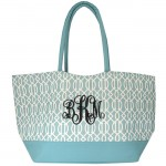 6038- AQUA TRELLIS SHOPPING  OR BEACH BAG