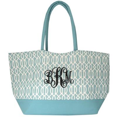 6038- AQUA TRELLIS SHOPPING  OR BEACH BAG