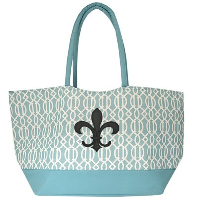 6038XB - AQUA TRELLIS SHOPPING  OR BEACH BAG /W BLACK FDL