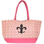 6038XB-HOTPINK - PINK TRELLIS SHOPPING OR BEACH BAG /W BLACK FDL