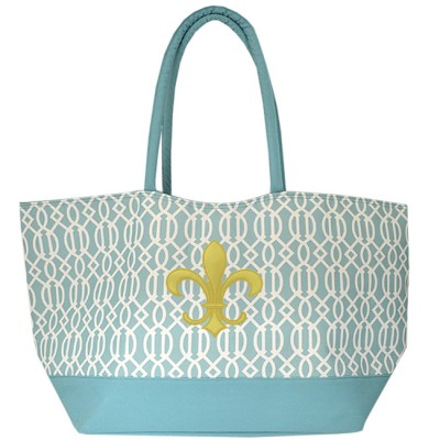 6038XG - AQUA TRELLIS  SHOPPING OR BEACH BAG /W GOLD FDL