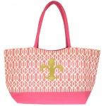6038XG-HOTPINK - PINK SHOPPING OR BEACH BAG /W GOLD FDL