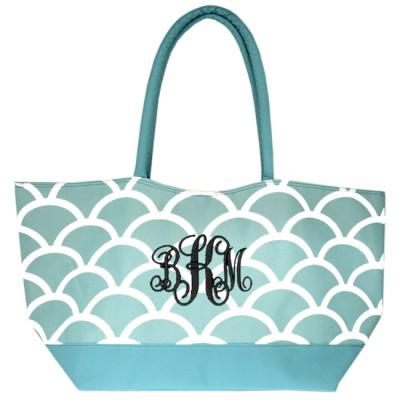 6039 - AQUA SHELL SHOPPING OR BEACH BAG