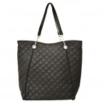 9006 - BLACK QUILTED LONG STRAP PURSE