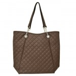 9006 - DARK BROWN QUILTED LONG STRAP PURSE