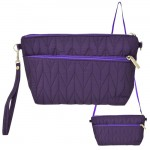 9008 - PURPLE QUILTED CROSSBODY MESSENGER BAG