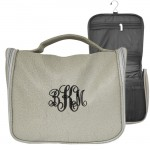 9011 - GRAY LEATHER MENS' TOILETRY BAG