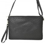 9028 - BLACK OSTRICH DESIGN CROSSBODY MESSENGER BAG