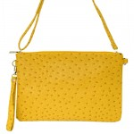 9028 - MUSTARD OSTRICH DESIGN CROSSBODY MESSENGER BAG