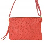 9028 - RED OSTRICH DESIGN CROSSBODY MESSENGER BAG