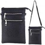 9040B - BLACK OSTRICH CROSSBODY MESSENGER BAG