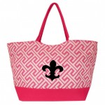 32526FDL-PINK  GREEK KEY DESIGN SHOPPING OR BEACH BAG(SMALL) W/ FDL