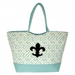 32527FDL-AQUA GREEK KEY DESIGN SHOPPING OR BEACH BAG(SMALL) W/ FDL