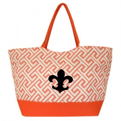 32528FDL-CORAL GREEK KEY DESIGN SHOPPING OR BEACH BAG(SMALL) W/ FDL
