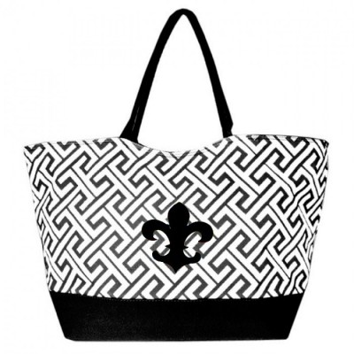 32529FDL-BLACK GREEK KEY DESIGN SHOPPING OR BEACH BAG(SMALL) W/ FDL