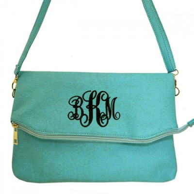 9014 - AQUA PU LEATHER CROSS BODY BAG