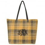 9019-001 - CAMEL/BLACK CHECK JUCO TOTE BAG