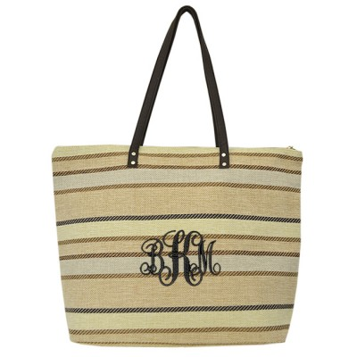 9019-003 - CREAM/TAN STRIPE JUCO TOTE BAG