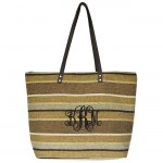 9019-005 - BROWN/TAUPE STRIPE JUCO TOTE BAG