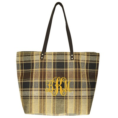9019-006 - BROWN/BLACK CHECK JUCO TOTE BAG