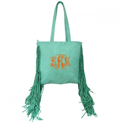 9032 - AQUA PU LEATHER FRINGE TOTE HANDBAG