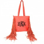 9032 - CORAL PU LEATHER FRINGE TOTE HANDBAG