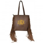9032 - DARK BROWN PU LEATHER FRINGE TOTE HANDBAG