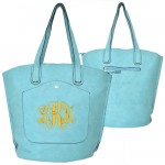 9035 - AQUA PU LEATHER TOTE BAG