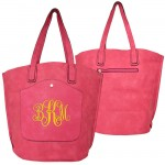 9035 - HOTPINK PU LEATHER  TOTE BAG