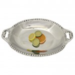 52529 - LARGE BEADED OVAL DISH /W HANDLE