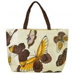 61849BR BUTTER FLY SHOPPING BAG W/ BROWN HANDLE