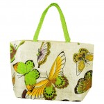 61849LG BUTTER FLY SHOPPING BAG W/LIME GREEN HANDLE